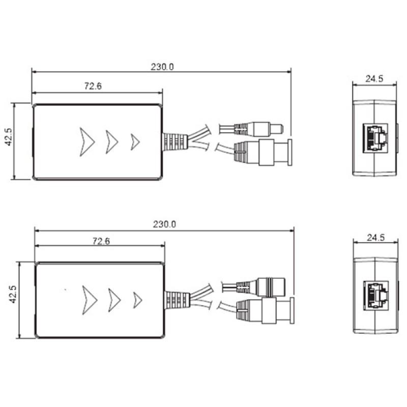 DH-PFM801-4MP HD-аналоговый приемо-передатчик Dahua